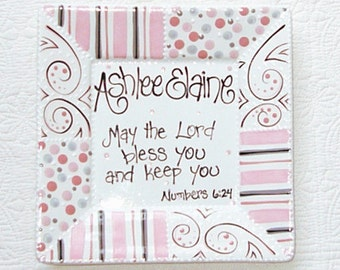 Personalized Baby Plate  'May the Lord Bless You and Keep You' Pink Patchwork
