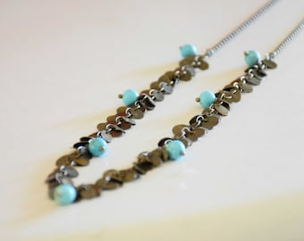 Necklace long mi Coachella chain and row of sequins