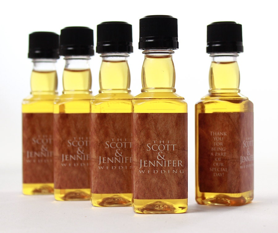Mini Liquor Bottles and Labels Personalized Wedding Favors