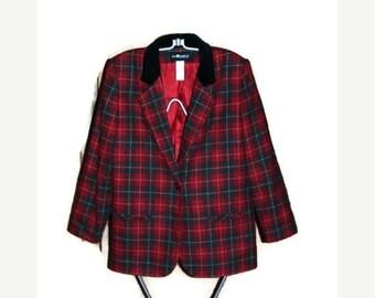 50% off clearance sale Womens plaid blazer, Christmas Blazer, Wool blend jacket, size 10 jacket, Petite Christmas blazer, lined blazer, red,