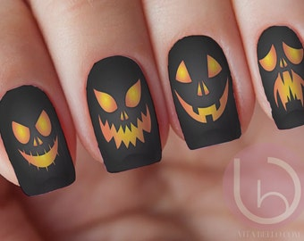Jack-O-Lanterns Waterslide Nail Decal, Nail Design, Nails, Press On Nail Decal, Nail Design, Nail Art