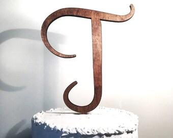 Wooden Wedding Cake Topper: Letter T, Monogram Cake Topper, Rustic Cake Topper, Handmade Cake Topper