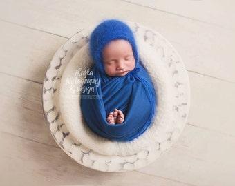 Angora Knit Bonnet - Photography Prop - Newborn Girl or Boy - Luxury Knit - Angora Rabbit Knit - Prop Bonnet - 7 choices of colors