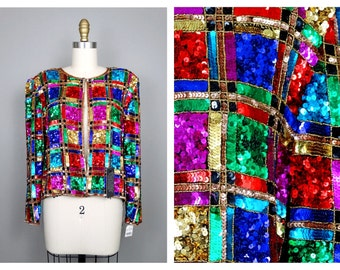 VTG Color Block Sequin Jacket // Colorful Checkered Sequined Blazer // Retro Beaded Sequin Bright Jacket