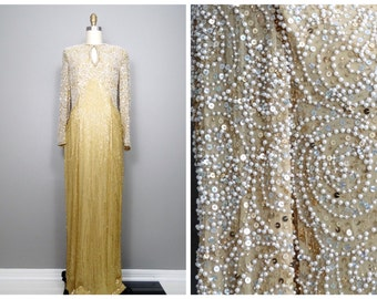 Gold Beaded Pearl Gown // White and Gold Beaded Sequined Dress // Art Deco Wedding Gown by Oleg Cassini Black Tie