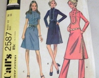 "SALE 1970s Boho Tunic Dress in 3 Versions and Pants Hostess sewing pattern McCalls 2587   Size 16 Bust 38"" UNCUT"