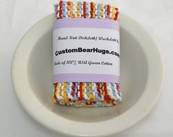Large Hand Knit Cotton Washcloth, Dishcloth, Multi-colored, Colorful Washcloth, Make Your Own Custom Set, Shower Gift, Mothers Day Gift