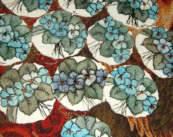 Take  40% Off, Broken China, Mosaic Pieces, Mosaic Focal, Hand Cut  , Hand Painted, Violets