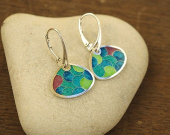 Silver earrings with cloisonne enamel, Silver Earrings.