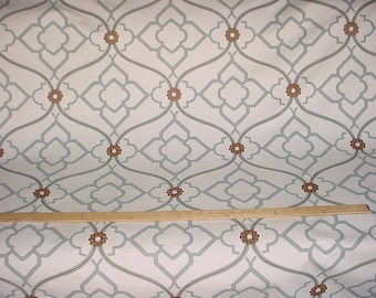 7 yards Kravet / Candice Olson Zuma in Grotto - Arabesque Scroll Medallion Printed Cotton Drapery Upholstery Fabric - Free Shipping