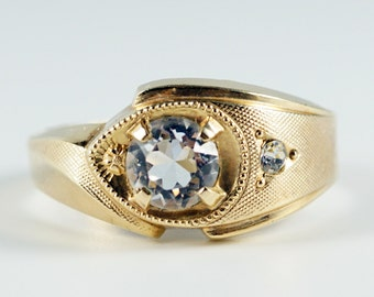 Gold Filled Ring, Vintage Clark & Coombs 10K Gold Filled Clear Rhinestone Women's Ring Size 10