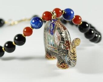Cloisonne Elephant Necklace, Vintage Onyx Lapis Carnelian Bead Necklace w/ Cloisonne Enamel Elephant Pendant