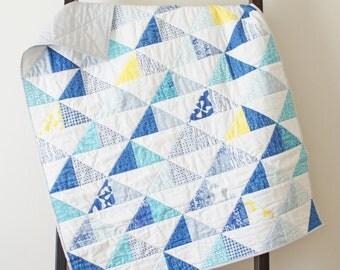 Triangle Quilt Boy, Blanket Crib Cot Bed, Blue Gray Aqua and Yellow, Baby Toddler Boy, Modern Geometric Print, Modern Bedding