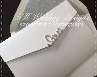 Pocketfold Invitation, Glitter Pocketfold, Wedding Invitation, Wedding Invite, Glitter Pocketfold Invitation, LOVE