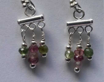 sterling silver and tourmaline tiny chandelier earrings