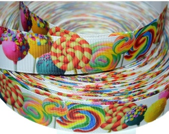 """Sugar Candy Lollipop  1.0"""" Grosgrain Ribbon for Hair Bows, Kids Crafts, Scrapbook Deco, Cards Making, Gift Wrapping"""