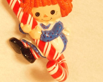 Vintage-Raggedy Ann Holding A Candy Cane-Wall Hook-Polyethylene