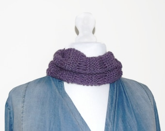 Purple cowl neck scarf, loop scarf, hand knit cowl scarf, muffler scarf, handmade circle scarf, scarf UK, neck warmer scarf, eternity scarf