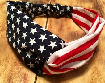 American Flag Turban Headband