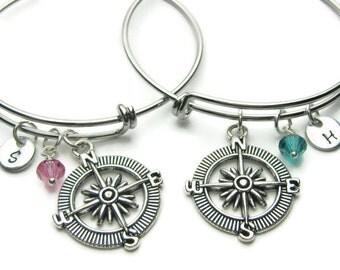 Compass Hand Stamped Initial Swarovski Birthstone Bangle Bracelets, Adjustable Bracelet, 2 Best Friends Bracelet, Compass Best Friends