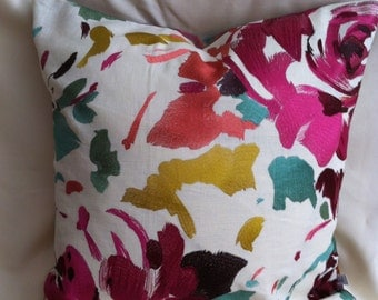 Custom Color Single 20 Inch Decorative Pillow Cover-Colorful Embroidered Floral Design-Accent Pillow Cover-Free Shipping.