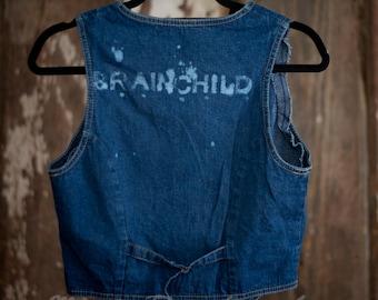 Jean Vest, Denim & Bleach Upcycled