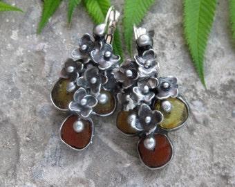 raw amber. Earrings