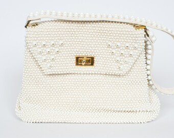 Vintage White Beaded Purse By Cordé-Bead