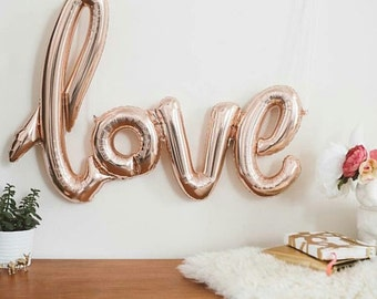 Rose gold script foil balloon baby shower wedding bridal shower decor
