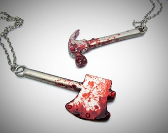 Bloody Weapons Necklace ~~ bloody axe, bloody saw, bloody hammer, Halloween necklace, gory necklace