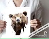 "Printable art, Geometric bear art print up to 11""x14"", Animal print, Bear print, Wall art, Animal art, Geometric animals, Triangles art"