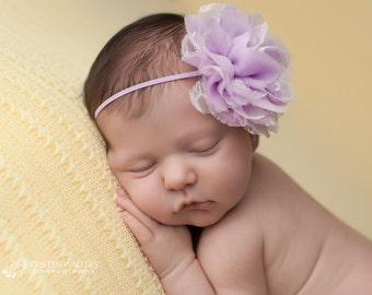 FREE SHIPPING! Lavender Chiffon Headband, Lavender Baby Headband, Lavender Headbands, Lavender Lace Headband, Baby Headbands