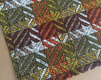 So seventies!  Vintage green, orange, yellow and brown geometric cotton fabric