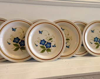 Set of Eight Mikasa Celebration Dinner Plates, Vintage Stonecraft Nita Plates, Mikasa Morning Glory Blue Flowers, Mikasa Pattern KA108