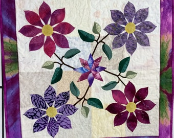 QUILTED, Appliqued Floral,TABLE TOPPER Table  Center Piece, Purples /Fuchsias