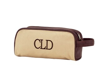 Men's Monogram Toiletry Bag, Embroidered Canvas toiletry bag, personalized toiletry bag for men, personalized groomsmen gifts,