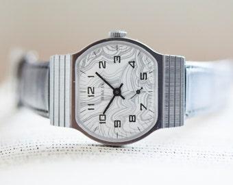 NOS Men's Watch. Vintage Men's Wrist Watch POBEDA (Victory). Soviet Russian Gents Watch. Mechanical Mens Dress Watch. Genuine Leather Watch