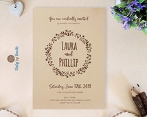 Rustic wreath wedding invitation | Wreath wedding invitation printed on kraft paper | Forest woodsy invites | Printed invitations