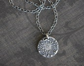 Flower Pendant, Flower Charm, Rustic, Boho, Sterling Silver, PMC Necklace, 18 Inch, Cable Chain, Patina, Mossy Creek
