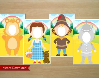 Wizard Of Oz Photo Booth Prop (Dorothy, Scarecrow, Tin Man & Cowardly Lion) - Instant Download (Digital File)