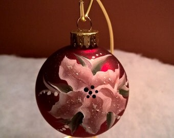 Hand Painted Red Poinsettia Flower Christmas Ball by Sally T Crisp