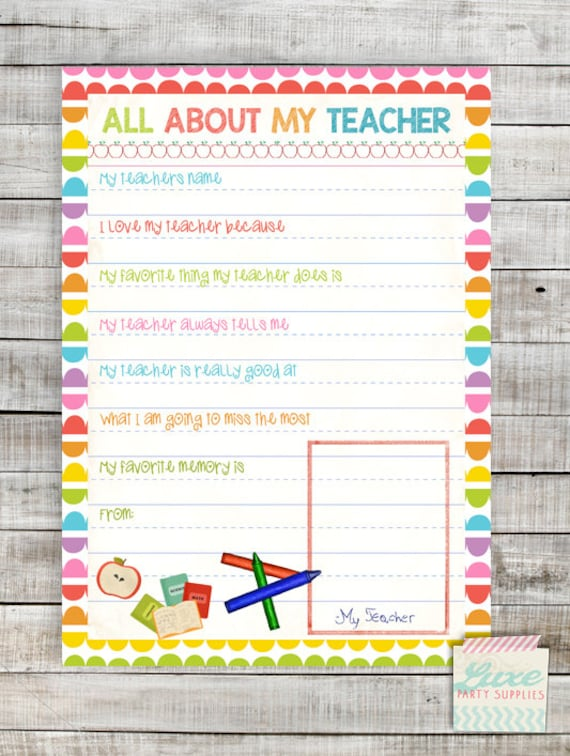 Effortless image within all about my teacher free printable