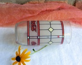 Reserved for S - 1980's Coca Cola Tumbler - Stained Glass Pattern, Red & Black, Frosted - Vintage - Rare, Fabulous!