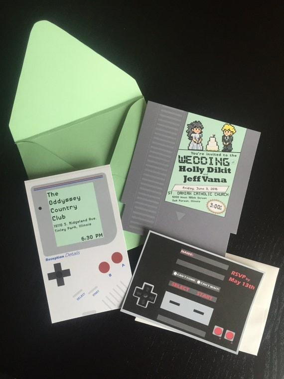 Unique Nintendo Gameboy Wedding Invitation with Reception Card – Affordable Custom Wedding Invitations