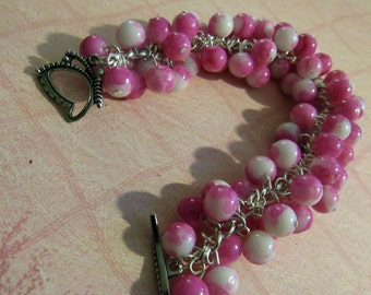 Pink and White Cluster Bracelet