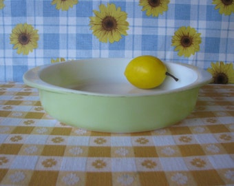 Lime Green Pyrex Cake Pan - Round Casserole  - 8 Inch -  #221 - Vintage 1950's