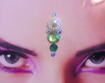 Tribal Bellydance Bindi with Green Rhinestones and White Cabochon, Large Face Jewel, Indian Woman Jewelry, Woman Accessory