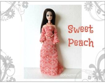 DAWN Doll Clothes - peach Gown, Belt and Necklace - Custom handmade Fashion - by dolls4emma