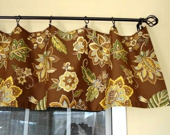 Waverly Valance Brown Floral Housewares Window Treatment Kitchen Valance  Rod Pocket Home Decor Curtains Draperies Custom