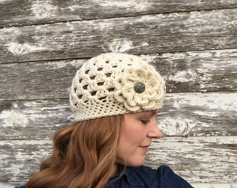 Ready to Ship - Women's Beanie with Flower in Ivory - Crocheted Hat with Flower - Gift Idea for Her - Cream Hat with Flower - Off White Hat